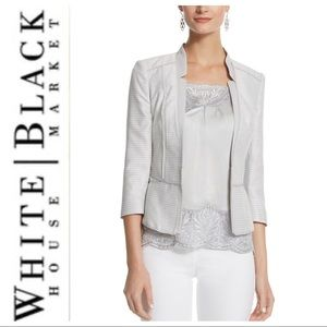 WHBM SILVER SHIMMER TWEED JACKET SIZE 4 NWT